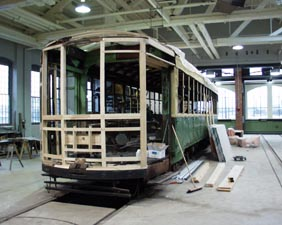 Front of 5205 being reconstructed at Electric City Trolley Museum