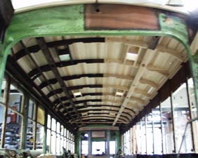 Roof of 5205 being reconstructed at Electric City Trolley Museum