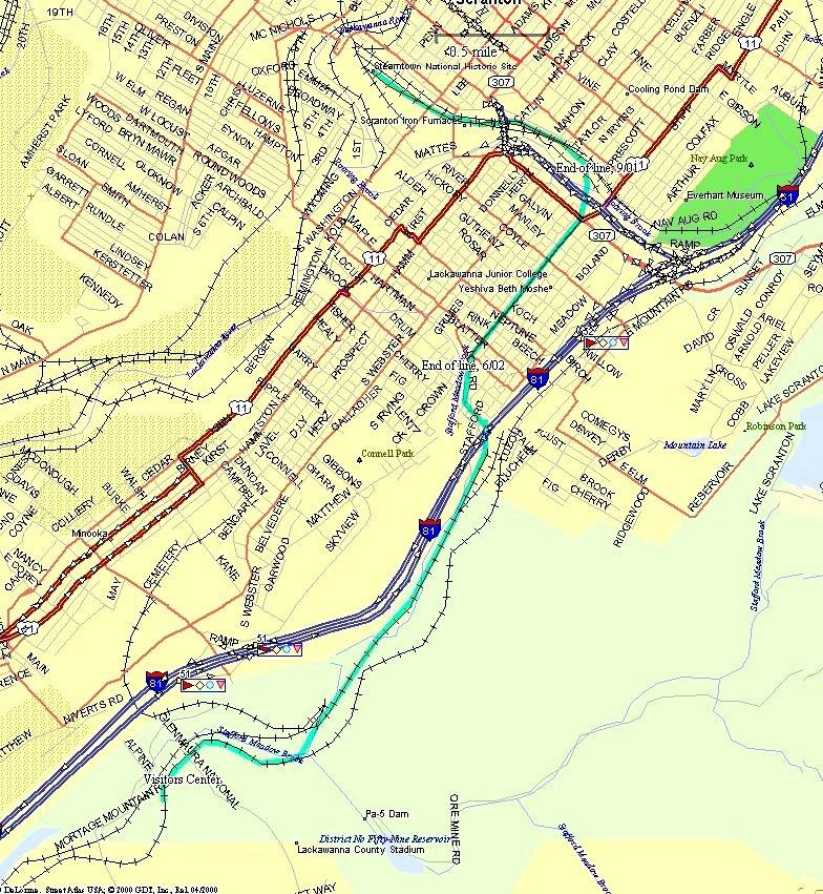 Electric City Trolley Museum Route Map
