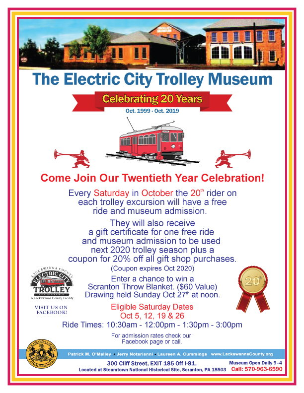 Electric City Trolley Museum 20th Anniversary Celebration flyer