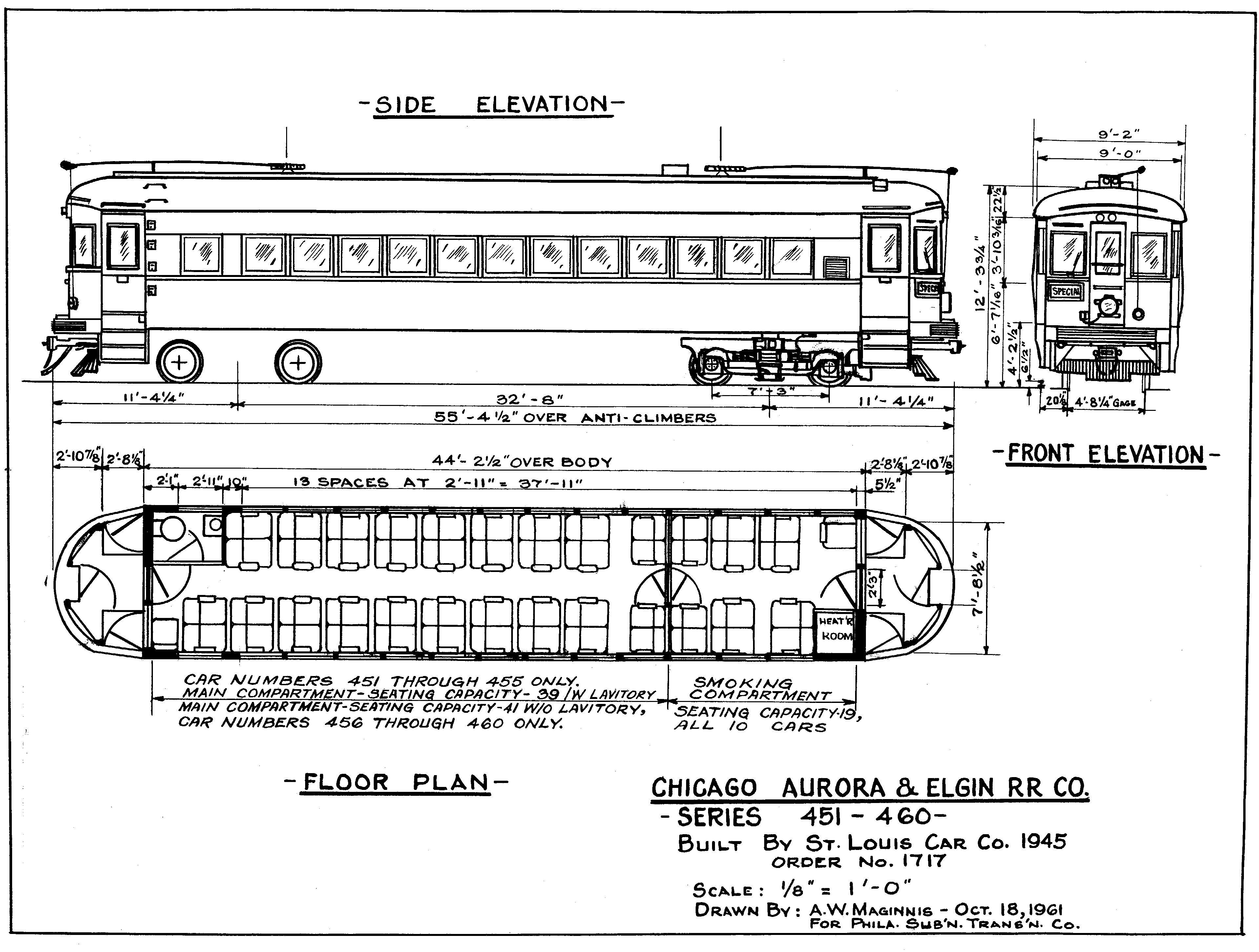 Drawing of CA&E 451 series by A. W. Maginnis.