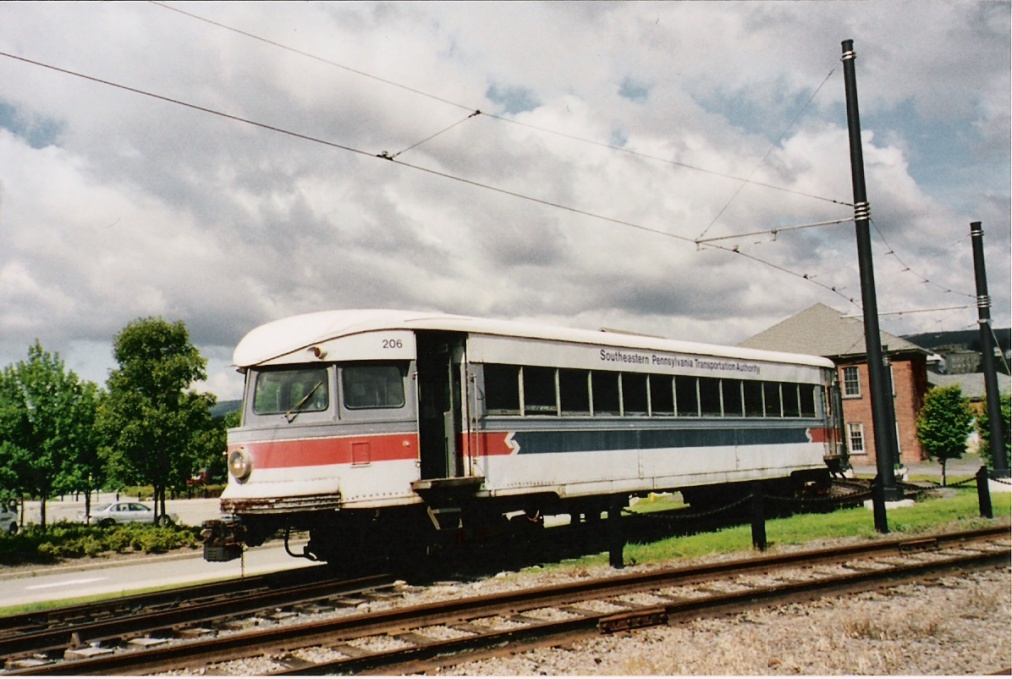 Bullet No. 206 in SEPTA colors outside of the museum